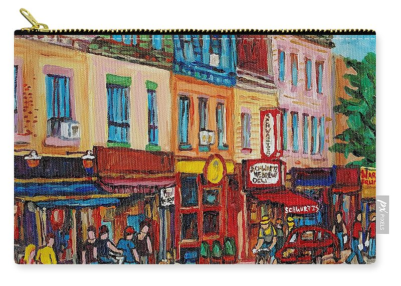 Schwartz Deli Carry-all Pouch featuring the painting Schwartzs Deli And Warshaw Fruit Store Montreal Landmarks On St Lawrence Street by Carole Spandau