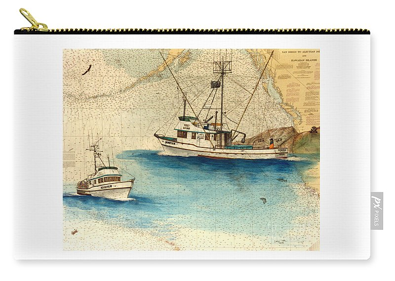 Scotter Carry-all Pouch featuring the painting Scooter Fishing Boat Nautical Chart Map Art by Cathy Peek