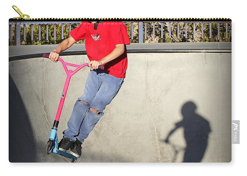 Concrete Carry-all Pouch featuring the photograph Sport - Scooter Flying by Kip Krause