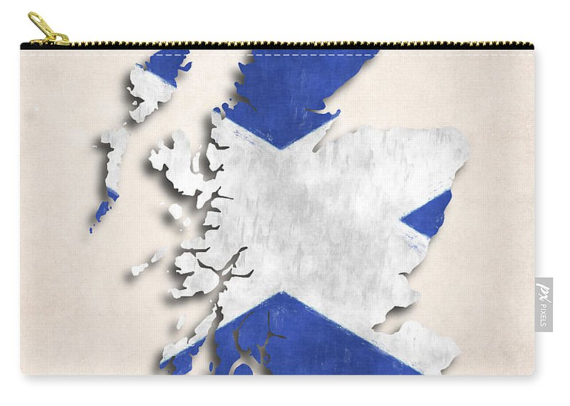 Scotland Carry-all Pouch featuring the digital art Scotland Map Art With Flag Design by World Art Prints And Designs