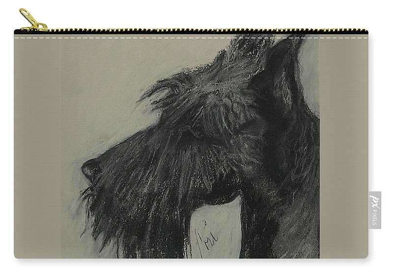 Drawing Carry-all Pouch featuring the drawing Scottish Delight by Cori Solomon