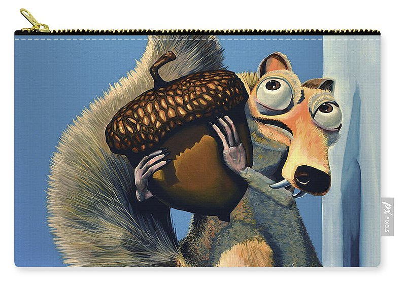 Scrat Carry-all Pouch featuring the painting Scrat Of Ice Age by Paul Meijering