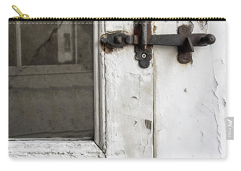 Ornate; Old; Building; Door; Doorway; Wood; Rustic; White; Peeling; Chipped; Painted; Rust; Metal; Closed; Aged; Entrance; Dirty; Facade; Grunge; Cracked; Handle; Keyhole; Rusty; Wooden; Beautiful; Lovely; Lock; Locked; Screen; Window; Reflection Carry-all Pouch featuring the photograph Screen by Margie Hurwich