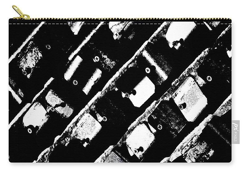 Urban Carry-all Pouch featuring the photograph Screwed Metal Tab Abstract by Chris Berry