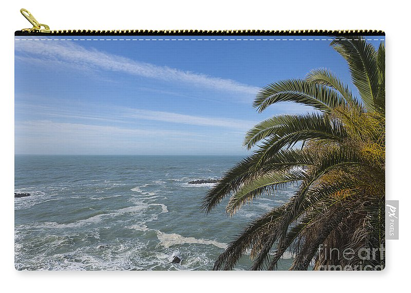 Sea Carry-all Pouch featuring the photograph Sea And Palm Tree by Mats Silvan