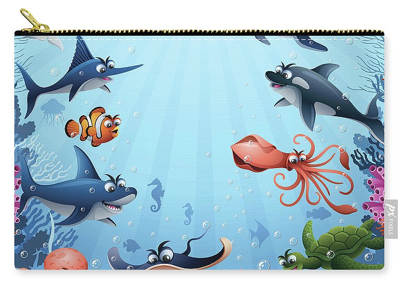 Underwater Carry-all Pouch featuring the digital art Sea Animals by Alonzodesign