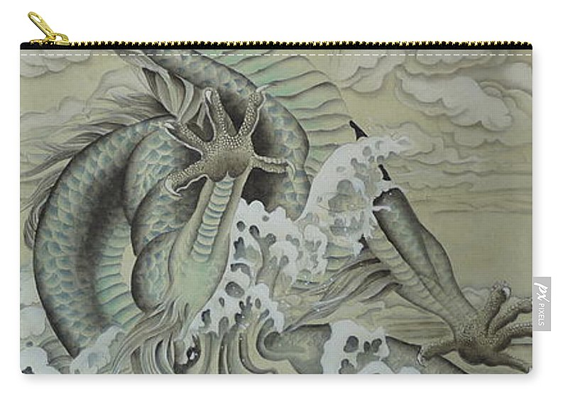 Dragon Carry-all Pouch featuring the painting Sea Dragon by Birgit Moldenhauer