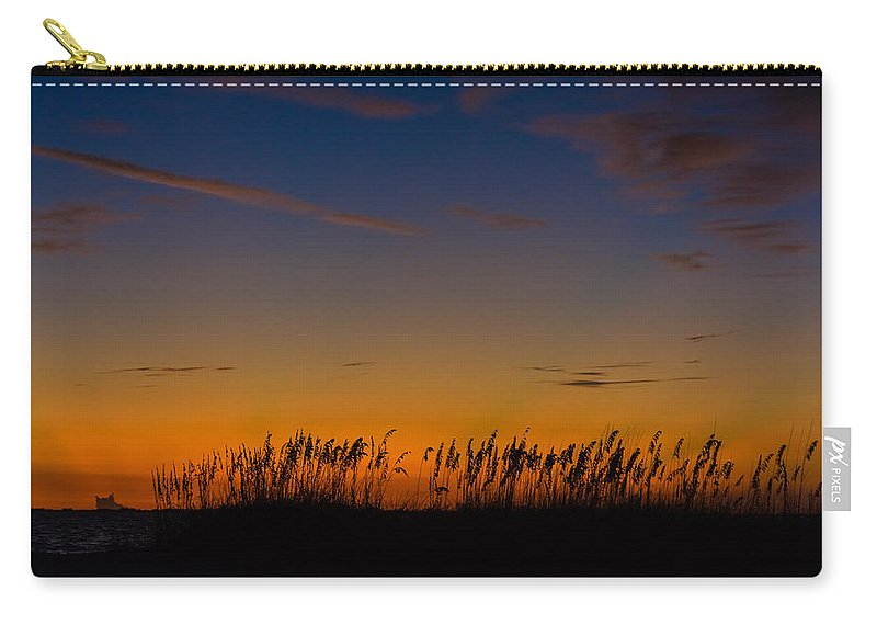 Beach Carry-all Pouch featuring the photograph Sea Oats At Twilight by Ed Gleichman