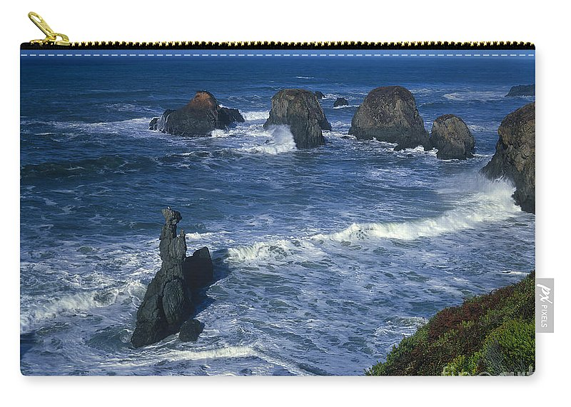 Dave Welling Carry-all Pouch featuring the photograph Sea Stacks Central Coast Near Rockport California by Dave Welling