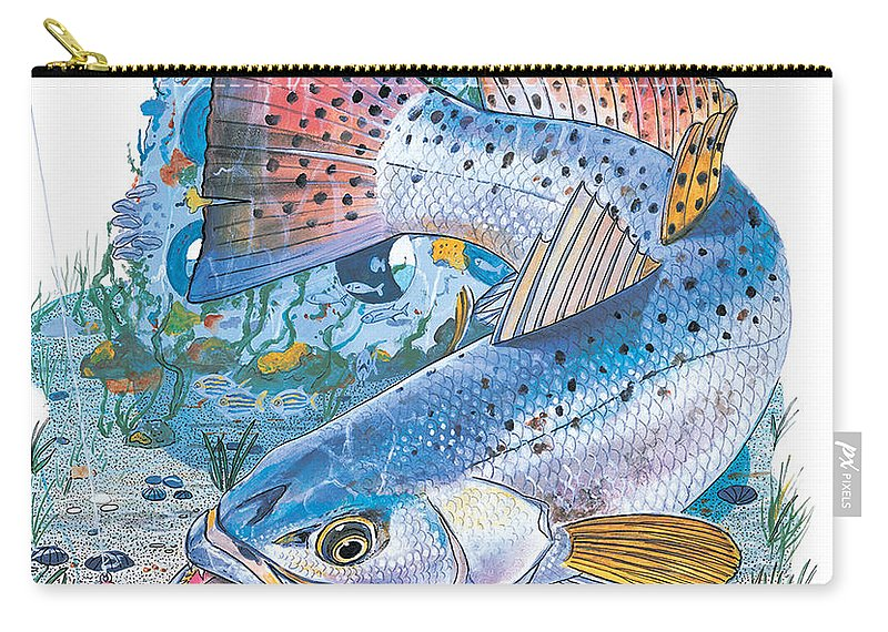 Trout Carry-all Pouch featuring the painting Sea Trout Wreck by Carey Chen