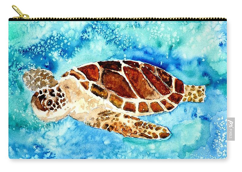 Sea Turtle Carry-all Pouch featuring the painting Sea Turtle by Derek Mccrea