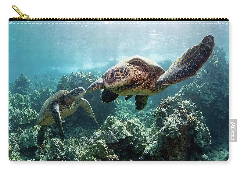 Underwater Carry-all Pouch featuring the photograph Sea Turtles by M Swiet Productions