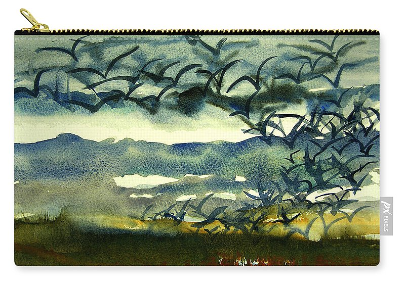 Seabird Paintings Carry-all Pouch featuring the painting Seabirds Rising From The Marsh 2-27-15 by Julianne Felton
