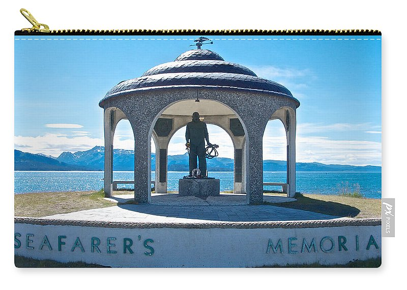 Seafarer's Memorial On Homer Spit Carry-all Pouch featuring the photograph Seafarer's Memorial On Homer Spit-ak by Ruth Hager