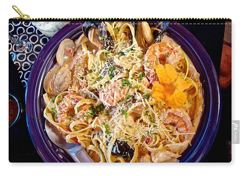 Seafood Fetticinni Alfredo Carry-all Pouch featuring the photograph Seafood Fetticinni Alfredo At Cafe Cups Restaurant In Homer-ak  by Ruth Hager