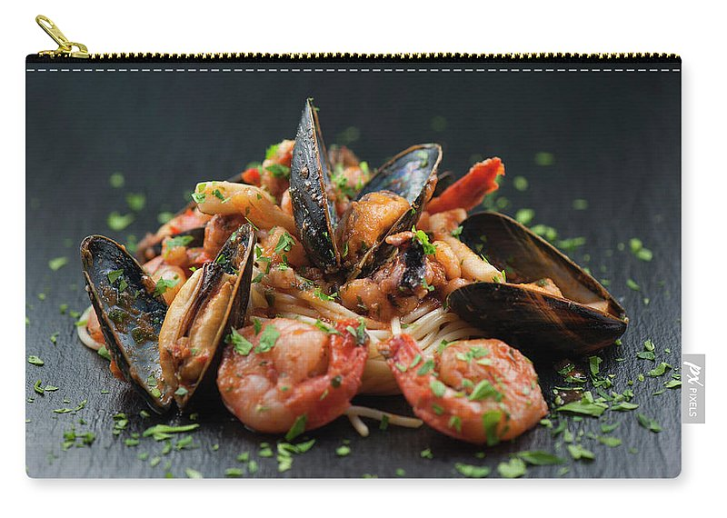 Prawn Carry-all Pouch featuring the photograph Seafood Pasta by Cbording
