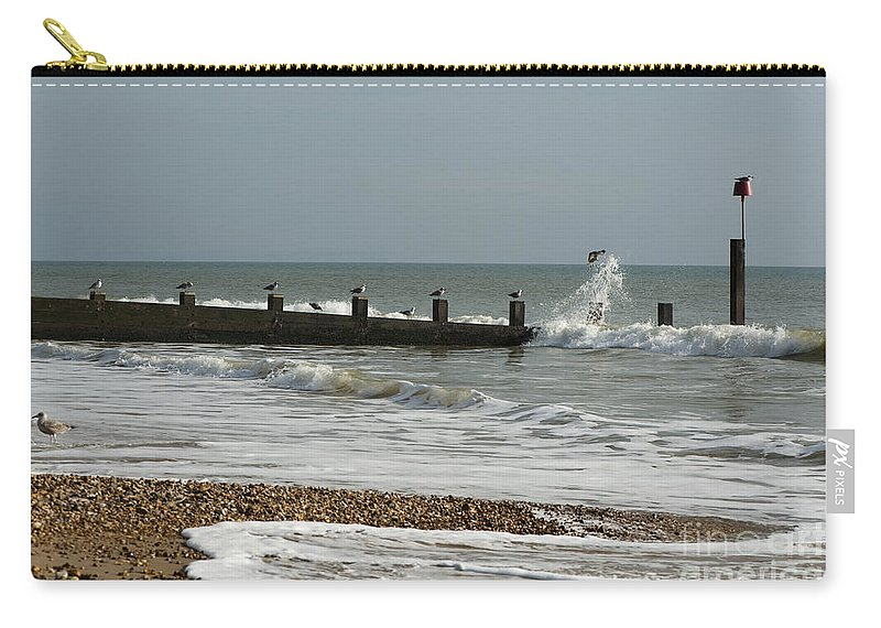 Autumn Carry-all Pouch featuring the photograph Seagull Groyne by Anne Gilbert