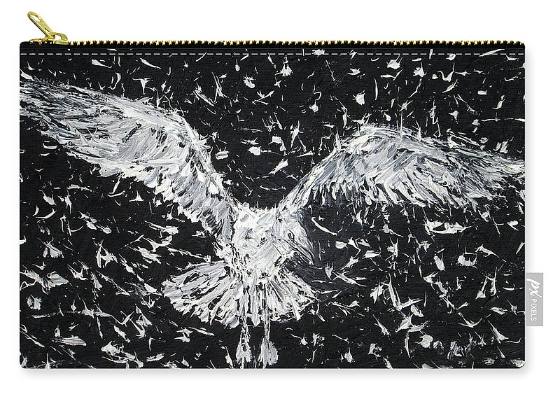 Seagull Carry-all Pouch featuring the painting Seagull - Oil Portrait by Fabrizio Cassetta