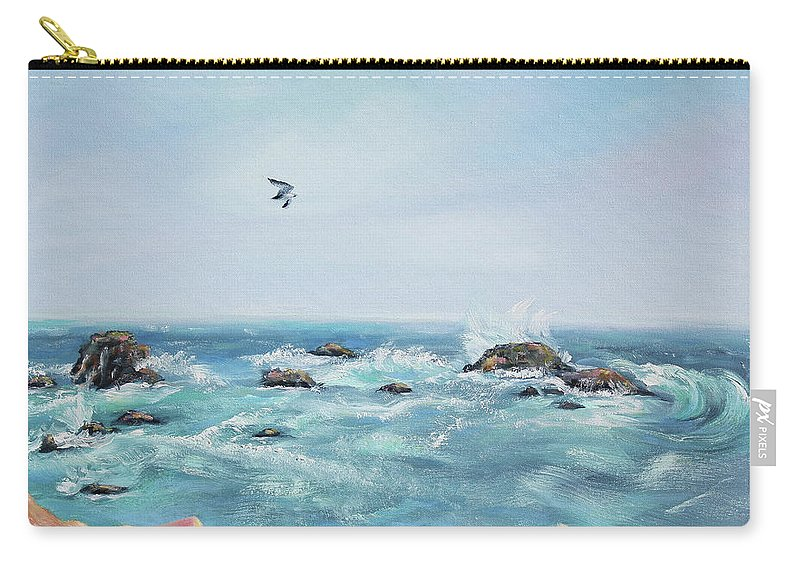 Seascape Painting Carry-all Pouch featuring the painting Seagull Over The Ocean by Asha Carolyn Young