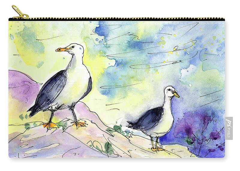 Travel Carry-all Pouch featuring the painting Seagulls In Calpe In Spain by Miki De Goodaboom