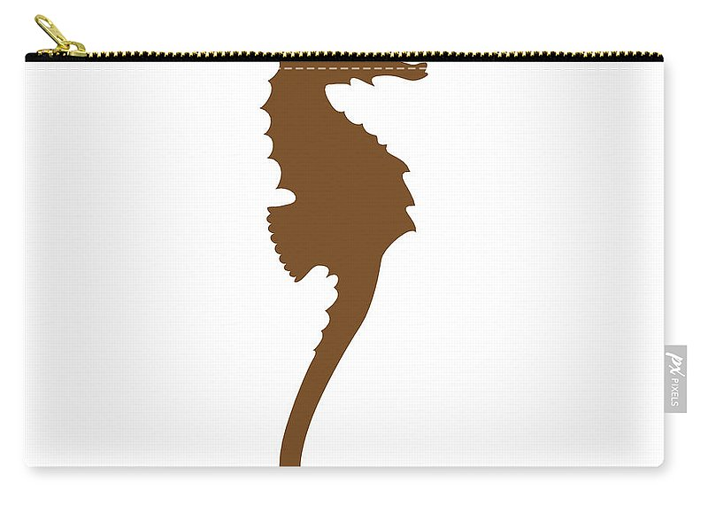 Graphic Art Carry-all Pouch featuring the digital art Seahorse In Brown by Jackie Farnsworth