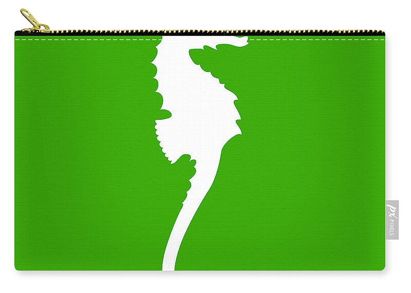 Graphic Art Carry-all Pouch featuring the digital art Seahorse In Green And White by Jackie Farnsworth