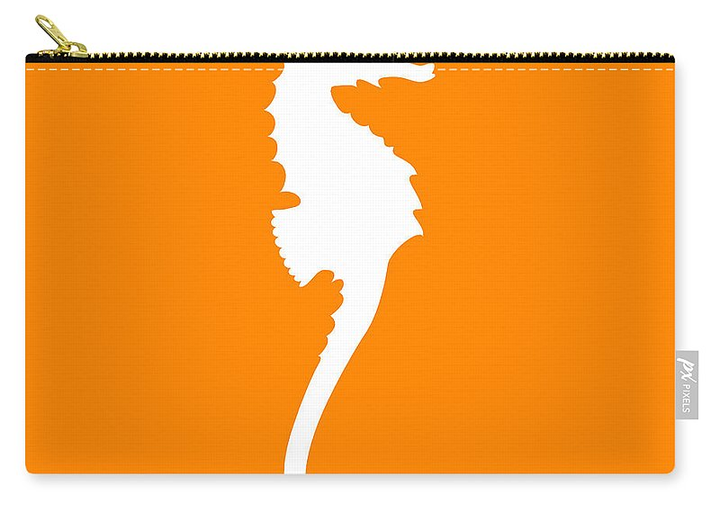 Graphic Art Carry-all Pouch featuring the digital art Seahorse In Orange And White by Jackie Farnsworth