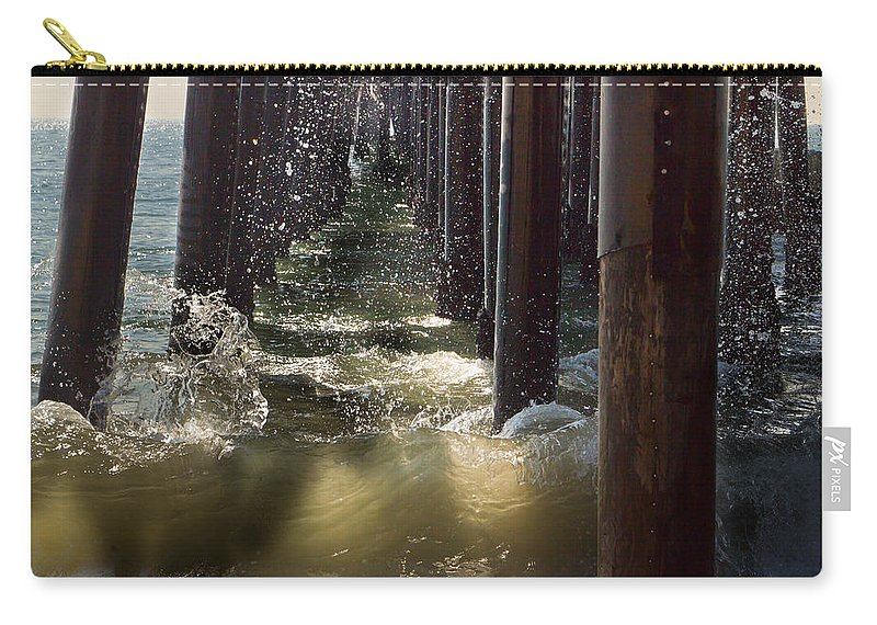 Angry Carry-all Pouch featuring the photograph Seal Beach Pier Surf by Heidi Smith