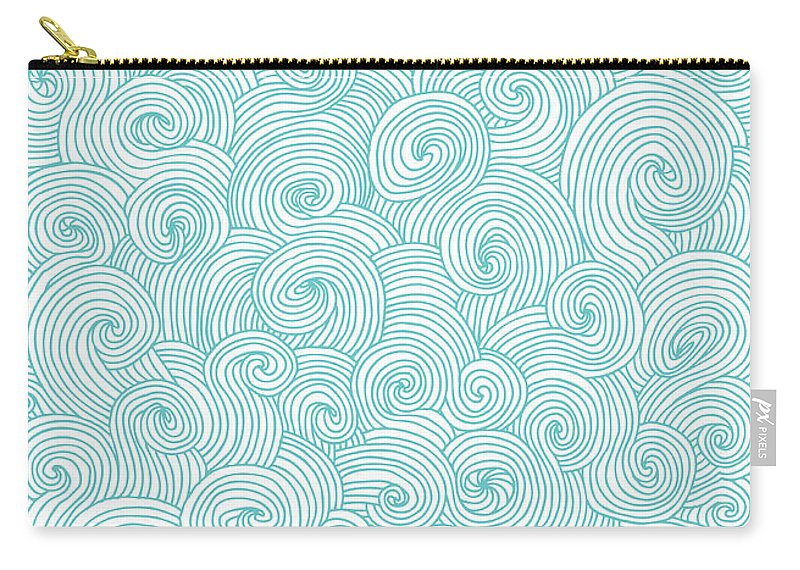 Curve Carry-all Pouch featuring the digital art Seamless Pattern Of Doodle Swirls And by Beastfromeast