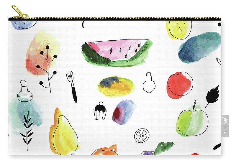 Cherry Carry-all Pouch featuring the digital art Seamless Pattern With Fruits, Berries by Loliputa