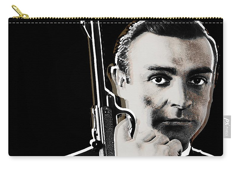 James Bond Carry-all Pouch featuring the painting Sean Connery James Bond Vertical by Tony Rubino