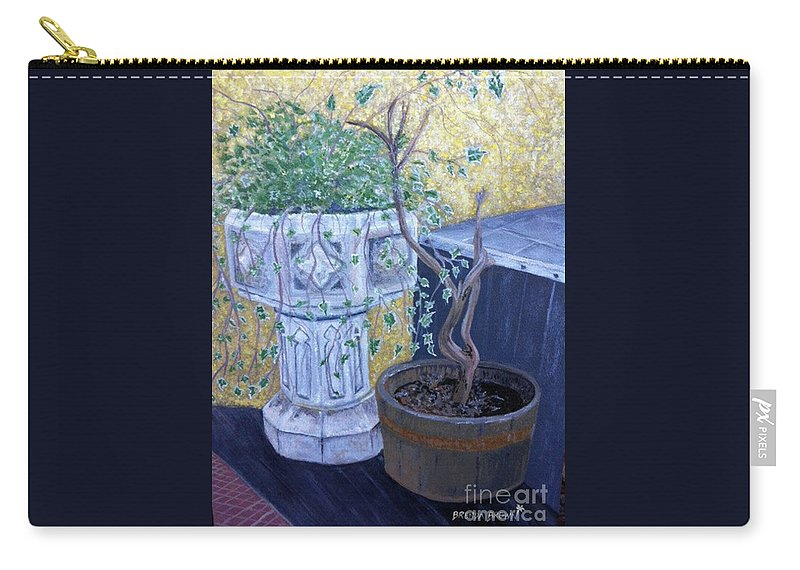 Landscape Carry-all Pouch featuring the painting Sean's Planter by Brenda Brown