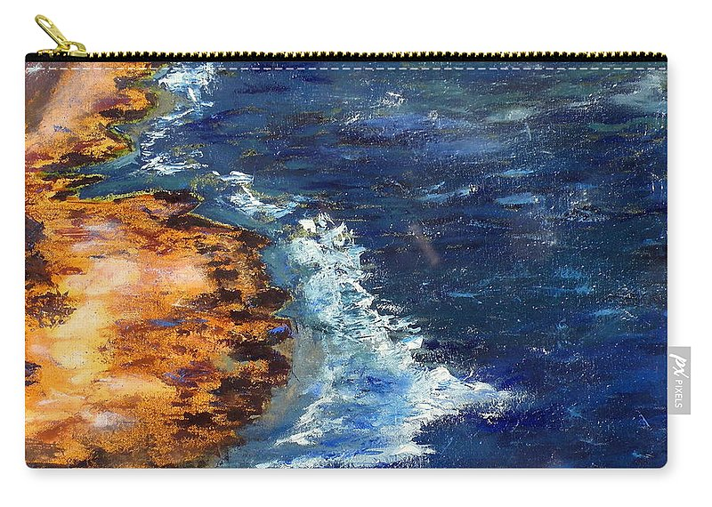Seascape Carry-all Pouch featuring the painting Seascape Series 5 by Uma Krishnamoorthy