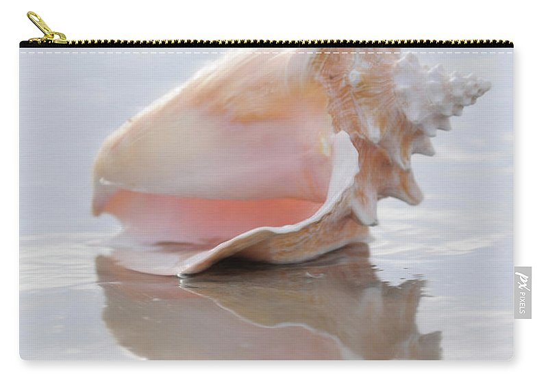 Seashell Art Carry-all Pouch featuring the digital art Seashell Be Still by Constance Woods