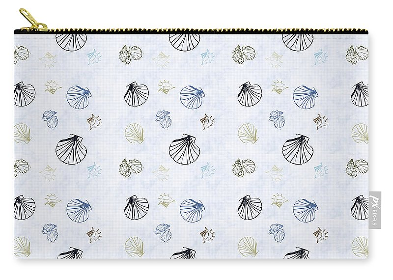 Seashell Carry-all Pouch featuring the mixed media Seashell Pattern by Christina Rollo