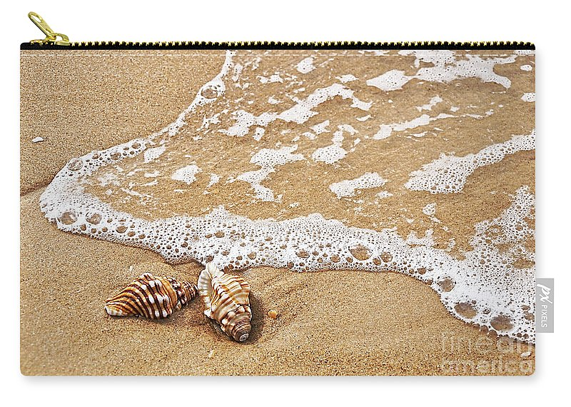 Photography Carry-all Pouch featuring the photograph Seashells And Lace by Kaye Menner