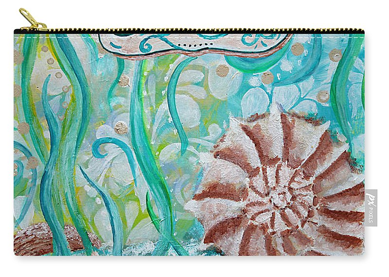 Seashells Carry-all Pouch featuring the painting Seashells II by Jan Marvin