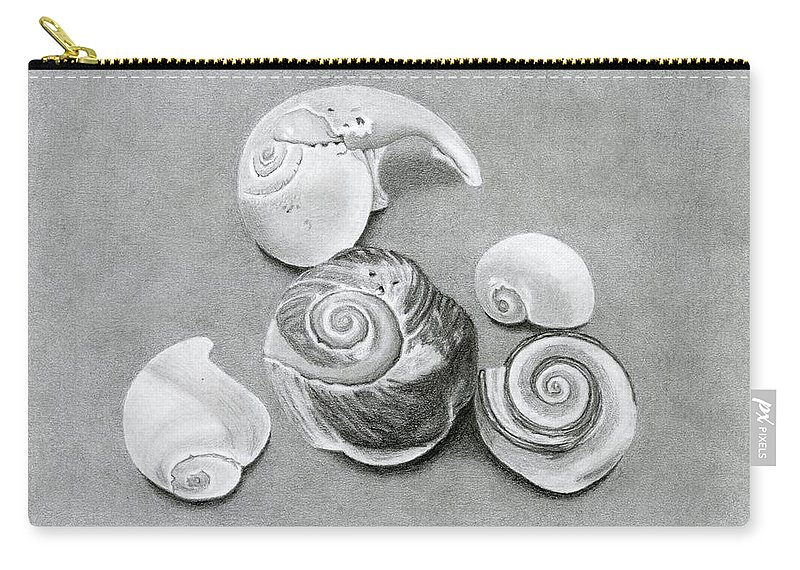 Seashells Carry-all Pouch featuring the drawing Seashells by Sarah Batalka