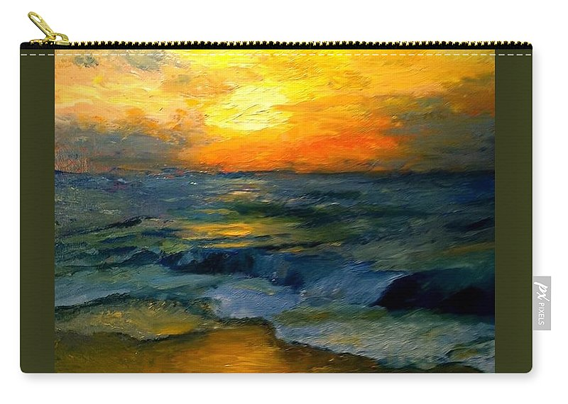 Sunset Carry-all Pouch featuring the painting Seaside Sunset by Gail Kirtz
