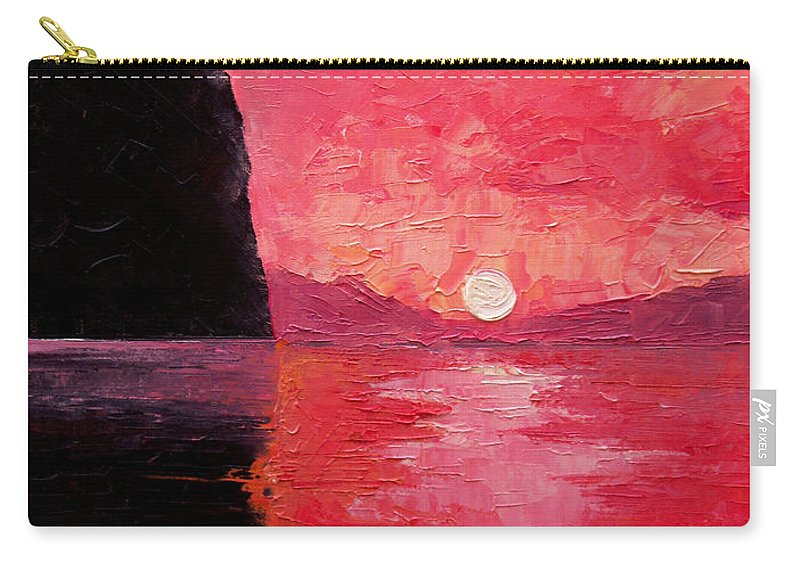 Landscape Carry-all Pouch featuring the painting Seaside Sunset by Sergey Bezhinets