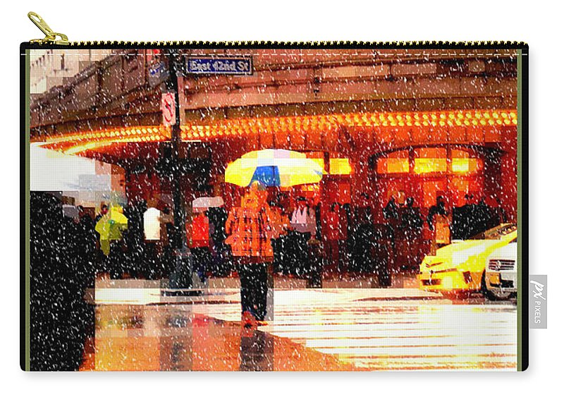 Grand Central Station Carry-all Pouch featuring the photograph Season's Greetings - Yellow And Blue Umbrella - Holiday And Christmas Card by Miriam Danar