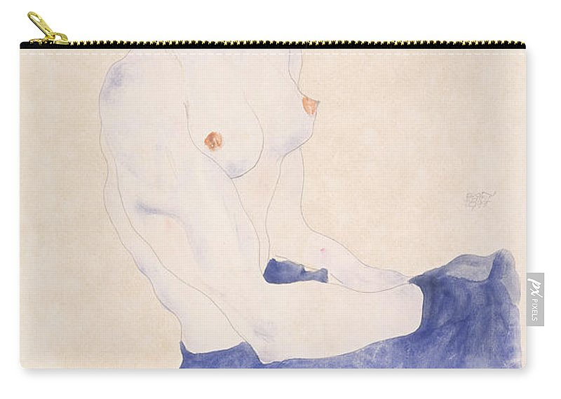 Schiele Carry-all Pouch featuring the painting Seated Blue Nude, 1911 by Egon Schiele