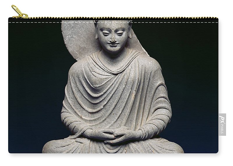 Statue Carry-all Pouch featuring the photograph Seated Buddha by Pakistani School