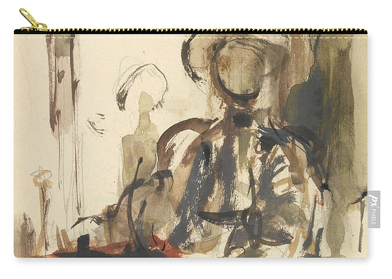 Seated Carry-all Pouch featuring the drawing Seated Figure Woman Seated, Wearing by Philip Wilson Steer