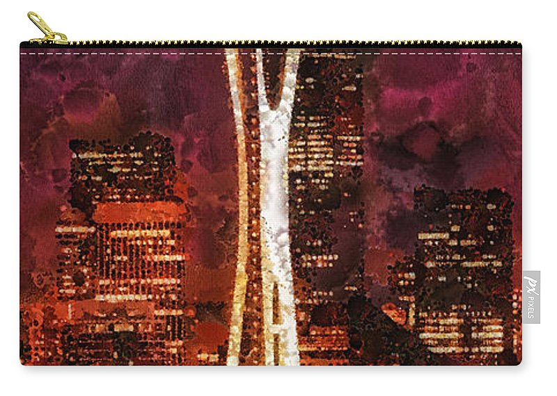 Seattle Carry-all Pouch featuring the painting Seattle by Mo T