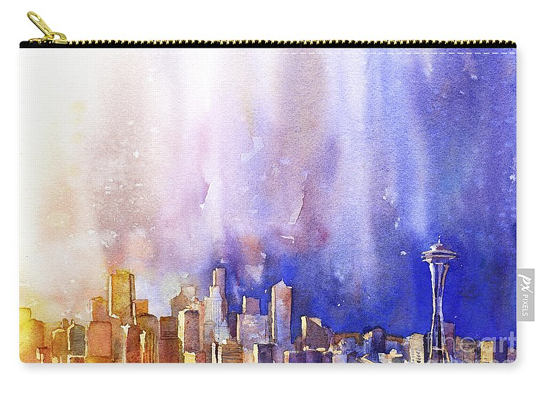 City Carry-all Pouch featuring the painting Seattle Sunrise by Ryan Fox