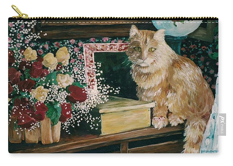 Cat Carry-all Pouch featuring the painting Sebestian And The Old Roses by Patty Fleckenstein