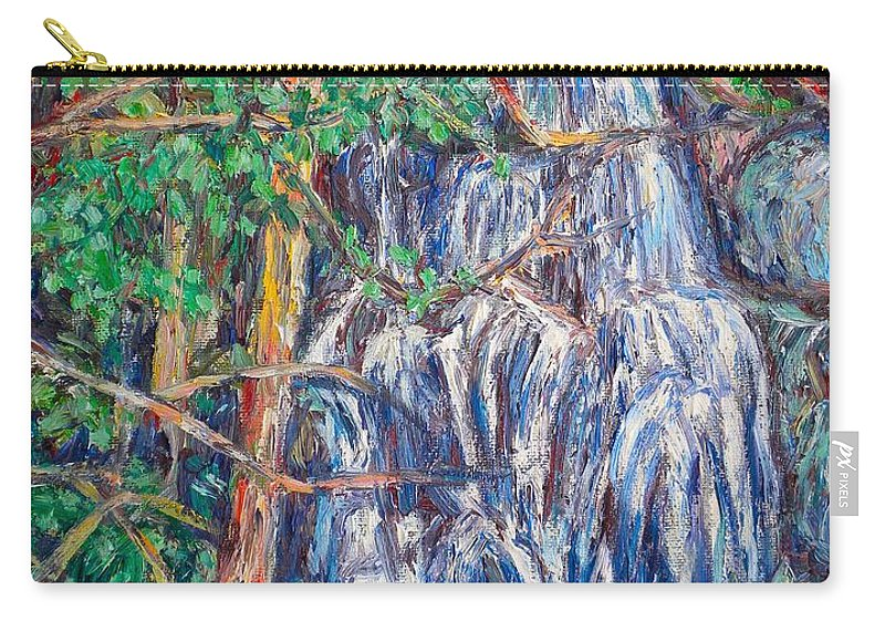 Waterfall Carry-all Pouch featuring the painting Secluded Waterfall by Kendall Kessler