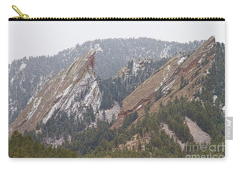 Flatirons Carry-all Pouch featuring the photograph Second And Third Flatirons Boulder Colorado by James BO Insogna