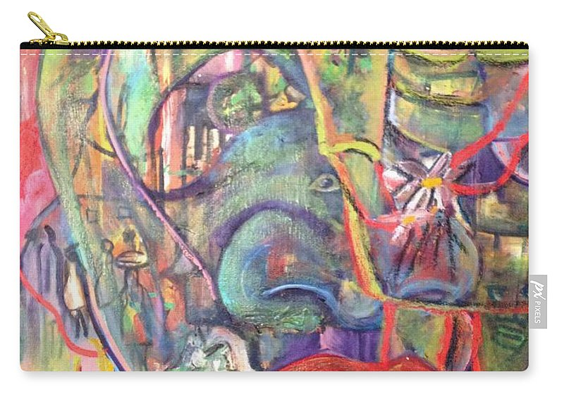 Village Carry-all Pouch featuring the painting Secreats by Peggy Blood